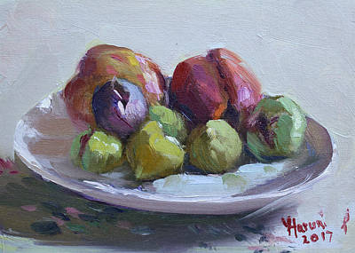 Peach Painting - Figs And Peaches by Ylli Haruni