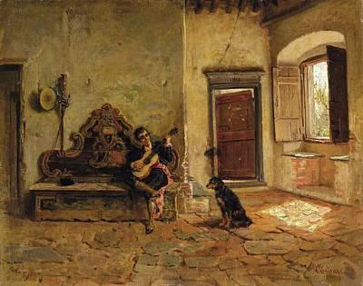 Chitarra Painting - Figura Con Chitarra E Cane In Un Interno by Bartolomeo Giuliano