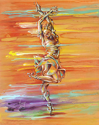Ballerina Artwork Painting - Jazz It Up by Karina Llergo