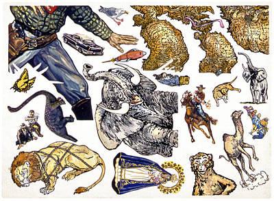 Figurative Sticker Sheet Art Print by Karl Frey