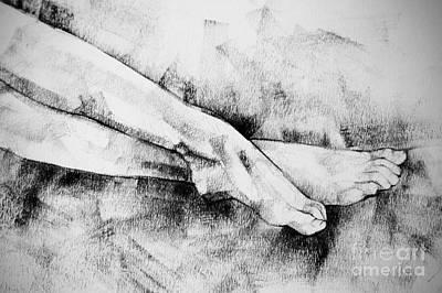 Drawing - Figure Drawing Legs Of Beautiful Girl by Dimitar Hristov