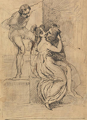 Drawing - Figure Leaning Over Stairs by Henry Fuseli