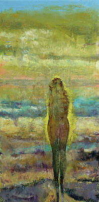 Abstract Beach Painting - Figure On A Beach by Michael Creese