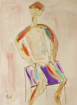 Painting - Figure On Purple by Mary Carol Williams