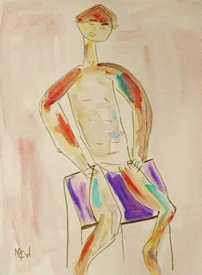 Painting - Figure On Purple by Mary Carol Williams
