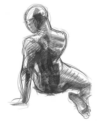 Drawing - Figure Study Of The Back by Judith Kunzle