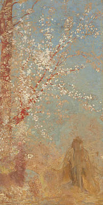 Figure Under A Blossoming Tree Art Print by Odilon Redon