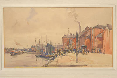 Quayside Painting - Figures And Vehicles On A Quayside by Frederick