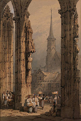Ulm Painting - Figures At The Cathedral Portal. Ulm by Samuel Prout