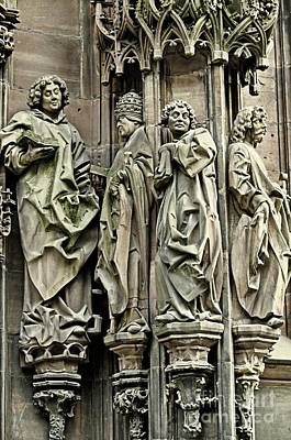 Photograph - Figures From The Facade Of Strasbourg Cathedral by Elzbieta Fazel