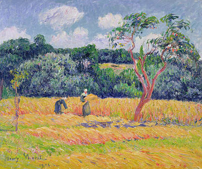 Figures Harvesting A Wheat Field Art Print by Henry Moret