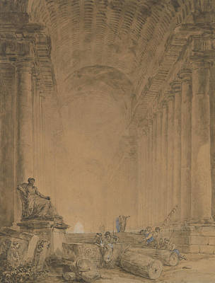 Drawing - Figures In A Colonnade by Hubert Robert