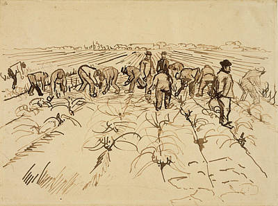 Weeding Painting - Figures In A Field, 1888 by Vincent Van Gogh