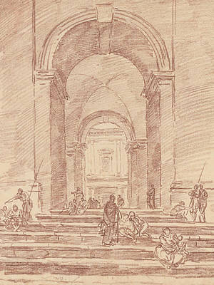 Drawing - Figures In A Roman Arcade by Hubert Robert