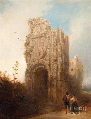 Wall Street Journal Painting - Figures In Ruin Landscape by Celestial Images