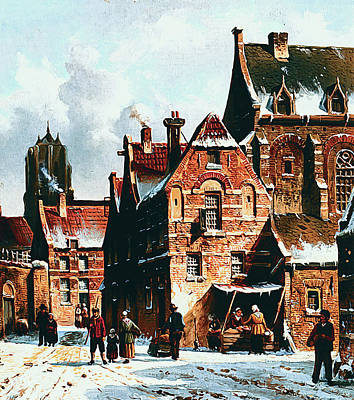 Photograph - Figures In The Streets Of A Wintry Town by Adrianus Eversen