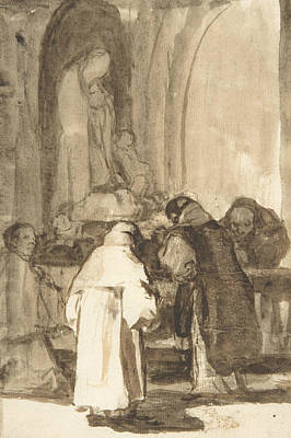 Drawing - Figures Inside A Church by Francisco Goya