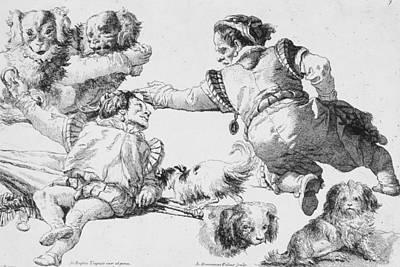 Relief - Figures Of Dwarfs And Dogs by Giovanni Domenico Tiepolo
