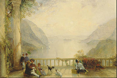 A Summer Evening Landscape Painting - Figures On A Balcony, Probably At Westpoint Ca.  by Thomas Creswick