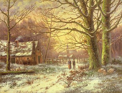 Snow Scene Painting - Figures On A Path Before A Village In Winter by Johannes Hermann Barend Koekkoek