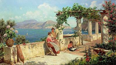 Capri Painting - Figures On A Terrace by Alott Robert