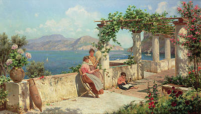 Figures On A Terrace In Capri  Art Print by Robert Alott