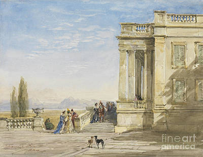 Greyhound Painting - Figures On A Terrace With Greyhounds by Celestial Images
