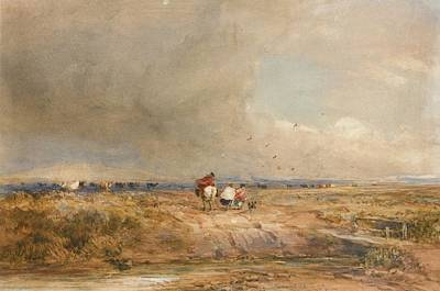 Windy Day Painting - Figures On A Track On A Windy Day by David Cox