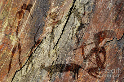 Primitive Raw Art Photograph - Figures On Rock by Michal Boubin