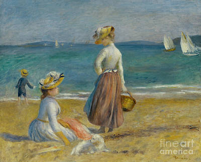 Cote D Painting - Figures On The Beach, 1890 by Pierre Auguste Renoir