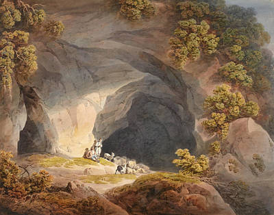North Wales Drawing - Figures Outside A Cave Near Abergeley. North Wales by Francis Nicholson