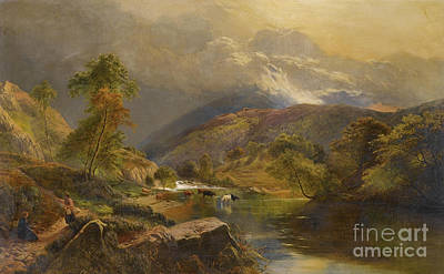 Percy Painting - Figures Resting Beside A Highland by MotionAge Designs