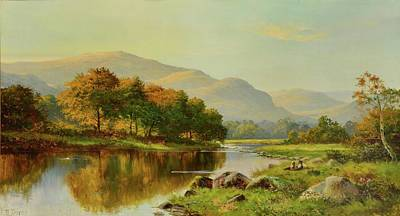 Daniel Painting - Figures Resting In A Mountainous River by MotionAge Designs