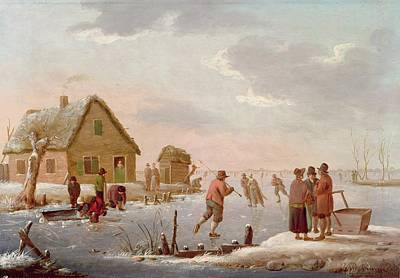Figures Skating In A Winter Landscape Art Print by Hendrik Willem Schweickardt