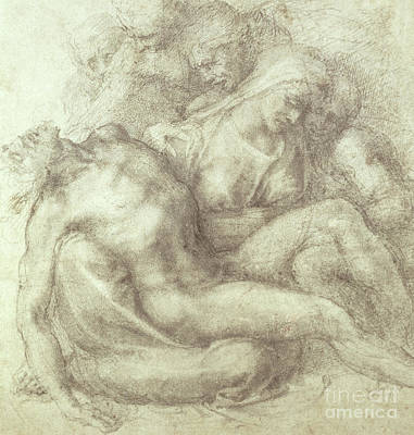 Weeping Drawing - Figures Study For The Lamentation Over The Dead Christ, 1530 by Michelangelo