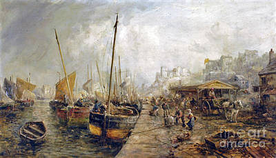 Quayside Painting - Figures Unloading Fishing Boats  by MotionAge Designs