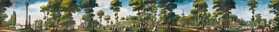 Louis Carmontelle Painting - Figures Walking In A Parkland by Louis Carrogis Carmontelle