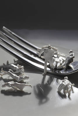 Impersonal Photograph - Figurines Escaping From A Fork by Ulrich Kunst And Bettina Scheidulin