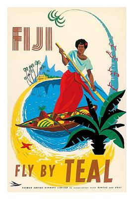 Canoe Digital Art - Fijian Native Poles A Canoe Vintage Airline Travel Poster By Arthur Alfred Thompson by Retro Graphics