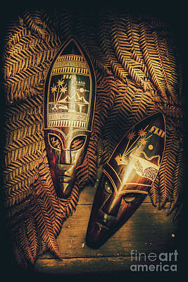 Antiquated Photograph - Fijian Tiki Tribal Masks by Jorgo Photography - Wall Art Gallery