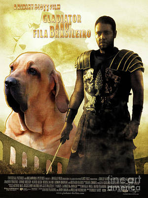 Painting - Fila Brasileiro Art Canvas Print - Gladiator Movie Poster by Sandra Sij