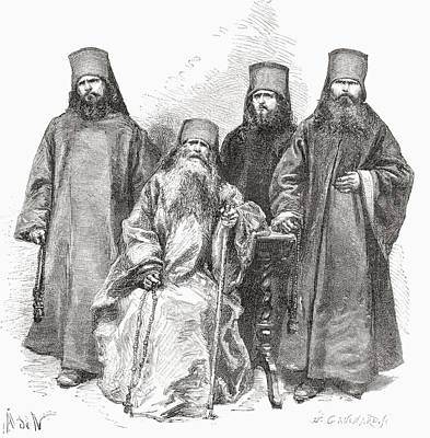 Orthodox Drawing - Filaret Drozdov And His Three Sons by Vintage Design Pics