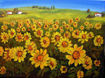 Filed Of Sunflowers Art Print by Mary Jo Zorad