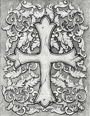 Filigree Drawing - Filigree Cross by Joce Ruston