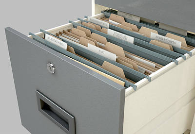Filing Cabinet Drawer Open Tax Print by Allan Swart