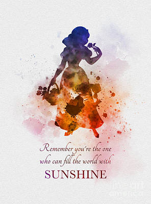Disney Mixed Media - Fill The World With Sunshine by Rebecca Jenkins