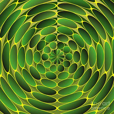 Concentric Digital Art - Filled Green Ellipses by Gaspar Avila