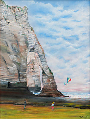 Painting - Fillette Au Cerf Volant - Etretat by Jean-Pierre Ducondi