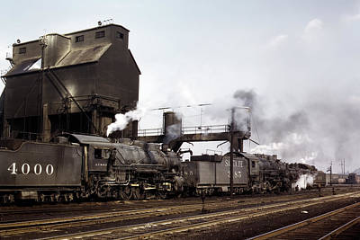 Brakeman Photograph - Filling Steam Locomotives With Coal And Sand 1943 by Daniel Hagerman
