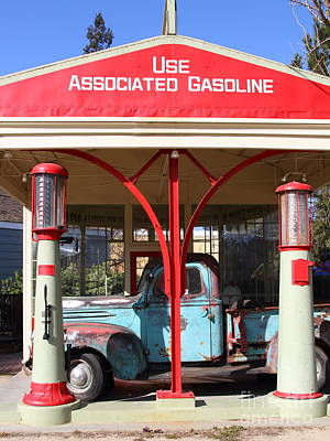 Rusty Old Trucks Photograph - Filling Up The Old Ford Jalopy At The Associated Gasoline Station . Nostalgia . 7d12884 by Wingsdomain Art and Photography